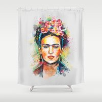 justice Shower Curtains featuring Frida Kahlo by Tracie Andrews