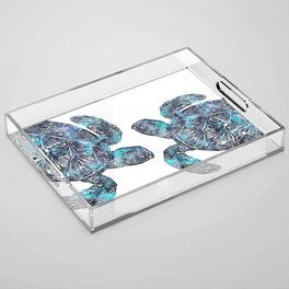 Sea Turtle Blue Watercolor Art Acrylic Tray