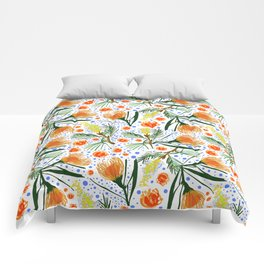 Australian Native Floral Pattern - Grevillea and Pincushion Flowers Comforters