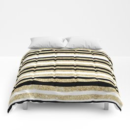 Gold Glitter and Black Stripes Comforters