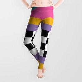 Checkered pattern grid / Vintage 80s / Retro 90s Leggings