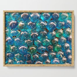 Turquoise Blue Glass Marbles Texture Serving Tray