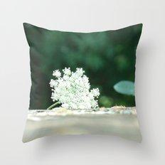 Queen Anne's Lace w/ bokeh Throw Pillow