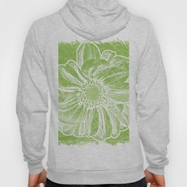 White Flower On Lime Green Crayon Hoody