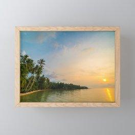 Tropical beach at sunset Framed Mini Art Print