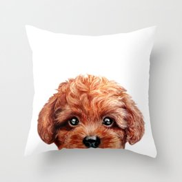 Toy poodle red brown Dog illustration original painting print Throw Pillow