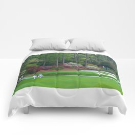 Golf's Amen Corner Augusta Georgia - Golfers on Bridge Comforters
