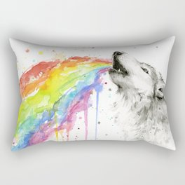 Wolf Rainbow Watercolor Animal Rectangular Pillow