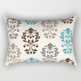 Heart Damask Art I Browns Teal Cream Rectangular Pillow