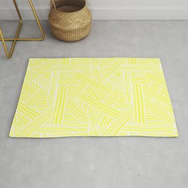 Sketchy Abstract (White & Light Yellow Pattern) Rug