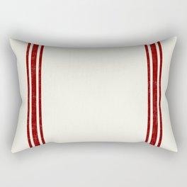 Red on Creme Grainsack wide stripes Rectangular Pillow