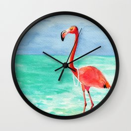 Shrimping in Pearls Wall Clock