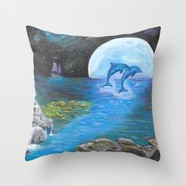 Moon light swim Throw Pillow