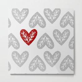 Folk Art Heart Pattern Metal Print