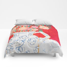 Delft Bird Pitcher on Red Background Comforters