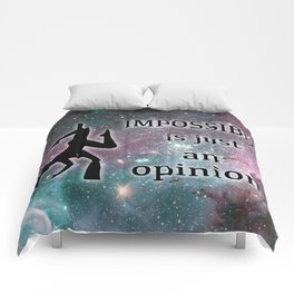 """Aerialist """"Impossible is just an opinion"""" Graphic Comforters"""