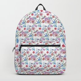 Watercolor florals pattern Pink & Purple(White) Backpack