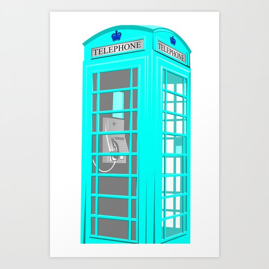 CYAN PHONE BOOTH Art Print