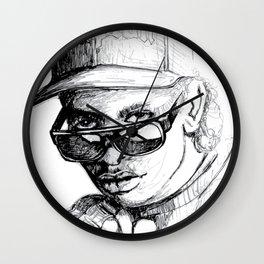 Digital Drawing #34 - Easy E in Black & White Wall Clock