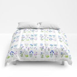 blue and purple flower collection watercolor Comforters