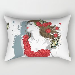 Woman in Dress from Gibiscus Flowers and Butterflies Rectangular Pillow