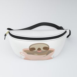 Sloth in a Pink cup coffee, tea, Three-toed sloth Fanny Pack