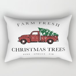 Christmas Tree Farm Vintage Truck Rectangular Pillow
