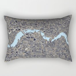 London color map city drawing illustration Thames Rectangular Pillow