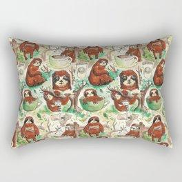 sloth in coffee pattern Rectangular Pillow