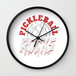 Pickleball Rocks Racquet Wiffle Ball Net Crosscourt Baseline Paddle Sports Gift Wall Clock