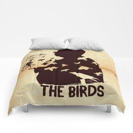 The Birds Hitchcock silhouette art Comforters