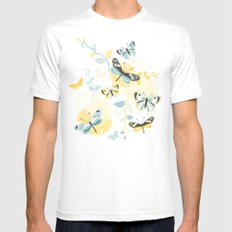 Butterflies in the garden White SMALL Mens Fitted Tee