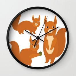 Set of funny red squirrels with fluffy tail with acorn  on white background Wall Clock