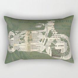 Motorcycle on newspaper, news collage art, decoration man cave, bike cut art Rectangular Pillow