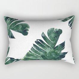 Banana Leaf Watercolor Painting, Tropical Nature Botanical Palm Illustration Bohemian Minimal Luxe Rechteckiges Kissen