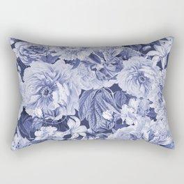 Nostalgic Blue Flower Pattern Rectangular Pillow