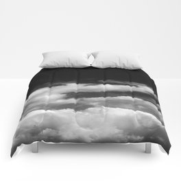 Clouds in black and white Comforters