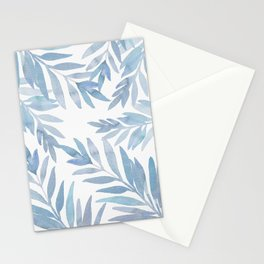 Muted Blue Palm Leaves Stationery Cards