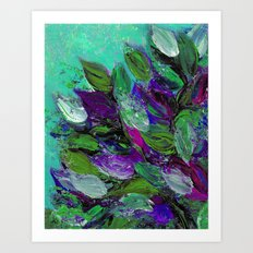 BLOOMING BEAUTIFUL 1 - Floral Painting Mint Green Seafoam Purple White Leaves Petals Summer Flowers Art Print