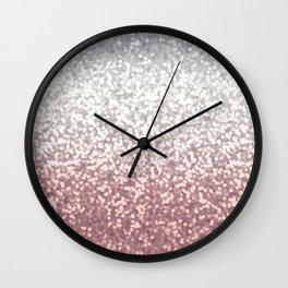 BLUSH ADN SILVER GLITTER OMBRE Wall Clock