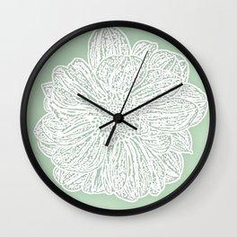 Single White Dahlia Lino Cut, Soft Sage Green Wall Clock