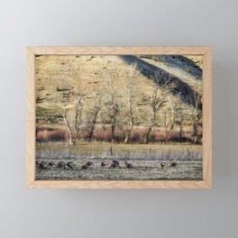 Landscape with Turkeys and Trees Framed Mini Art Print