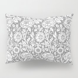 "William Morris Floral Pattern | ""Pink and Rose"" in Grey and White Pillow Sham"