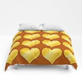 Golden hearts-Brown Comforters