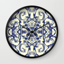 blue and white Digital pattern with circles and fractals artfully colored design for house Wall Clock