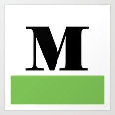 Monogram Letter M (color block) Art Print