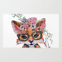 Hipster Fox in Bloom Rug