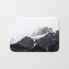 Moody snow capped Mountain Peaks - Nature Photography Bath Mat