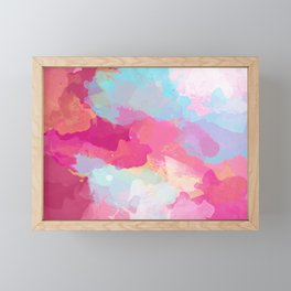 Colorful Abstract - pink and blue pattern Framed Mini Art Print