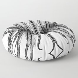 Ferns Abstract 2 - Black and White Floor Pillow
